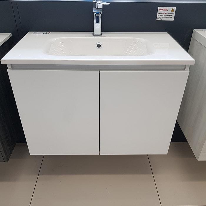 810(w)x460(d)x555(h)mm White Wall Hung Vanity – Single Basin, 2 Drawers (#9415)