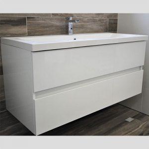 White Wall Hung Vanity - Single Basin, 2 Drawers