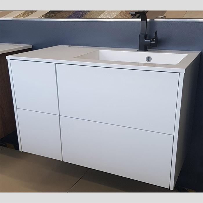 900(w)x500(d)x540(h)mm White Wall Hung Italian Vanity – Single Basin (#9278)