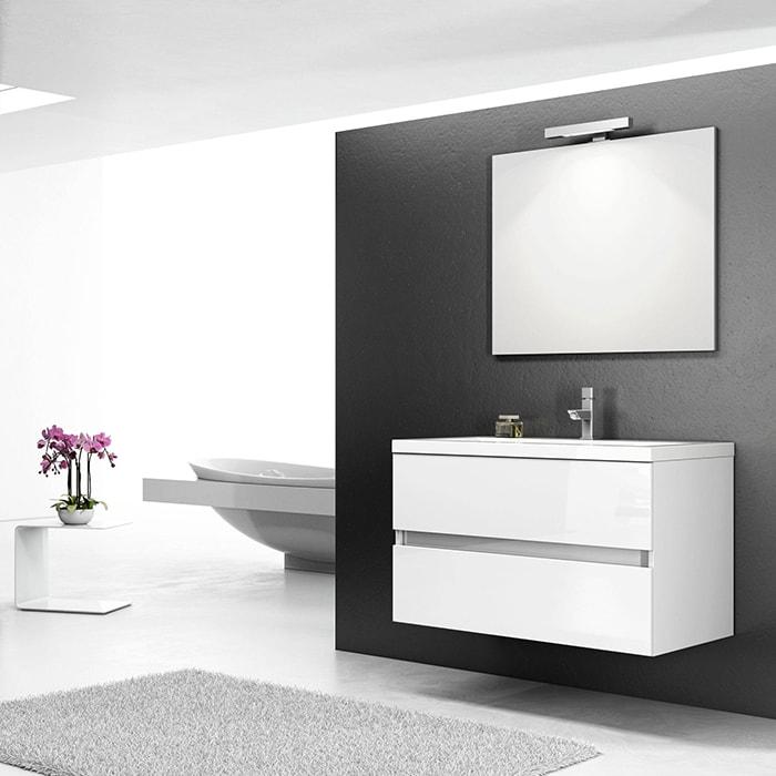 900wx508dx540hmm White Wall Hung Vanity – Single Basin, 2 Drawers 9270